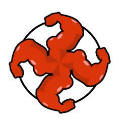 logo for aggressive fighters hands bodybuilder vector image vector image