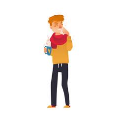 Man having cold flu symptoms runny nose fever vector