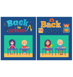 back to school set of posters with boy and girl vector image vector image