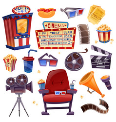 cinema cartoon set vector image vector image