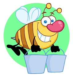Happy Honey Bee Flying With A Buckets vector image vector image