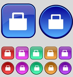 Sale bag icon sign a set of twelve vintage buttons vector