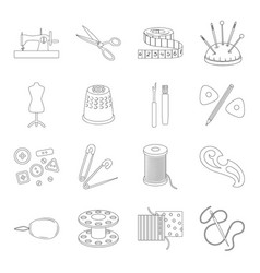 sea animals set icons in line style big vector image