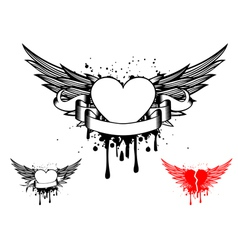 Wings and heart vector
