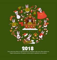 2018 dog year poster for christmas or new year vector