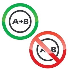 A to B permission signs vector