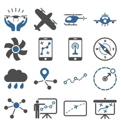 Aircraft navigation icon set vector