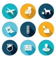 Airplane drug trafficking icons set vector