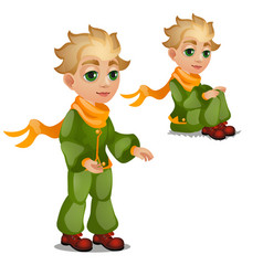Animated blond boy in green clothes isolated on vector