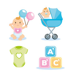 Baby shower card with set items vector