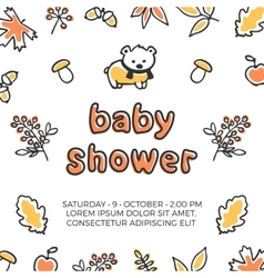 Baby shower template with cute doodle bear vector image