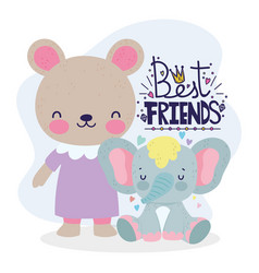 Best friends card cute bear and elephant cartoon vector
