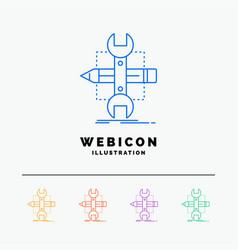 build design develop sketch tools 5 color line vector image