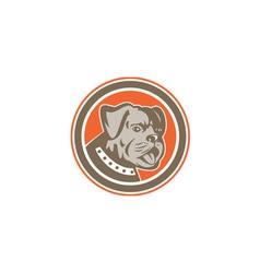 Bulldog dog mongrel head mascot circle vector