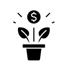 business growth black icon concept vector image
