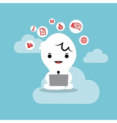 Business man working with laptop cloud network vector