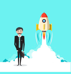 business startup project with businessman and vector image