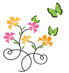 Butterflies and flowers 9 vector