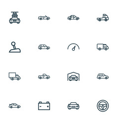 Car icons line style set with prime-mover vector