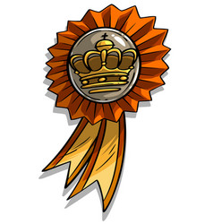 cartoon award medal with ribbon and crown vector image