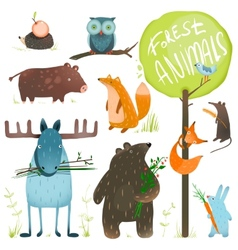 Cartoon Forest Animals Set vector