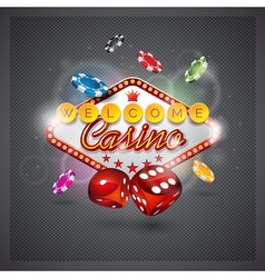 casino with lighting display and dice vector image