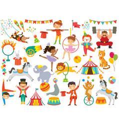 Circus clipart set with various cartoons vector
