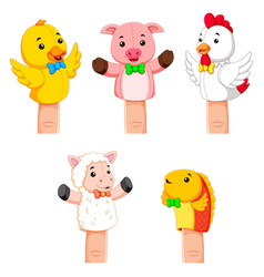 Collection of fierce animal hand puppets vector