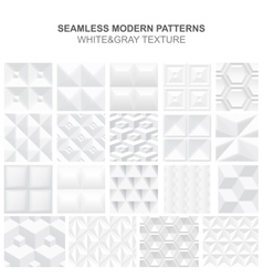 Collection of white geometric textures vector