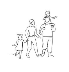 Continuous line parents walking with children vector