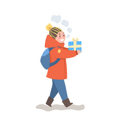 cute happy boy in winter clothing walking with vector image