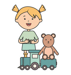 Cute little girl with bear teddy and train vector