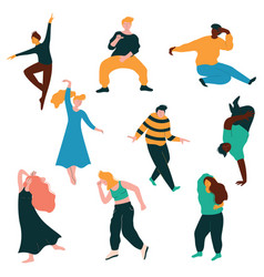 dancing people collection young men and women vector image