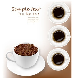 desings with coffee and cups vector image vector image