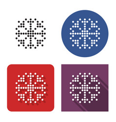 dotted icon snowflake in four variants with vector image