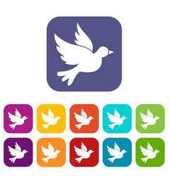 Dove icons set vector