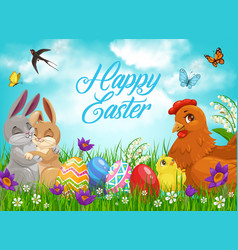 Easter bunnies and chicks with eggs vector