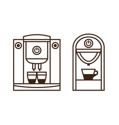 Espresso machine and coffee maker line icons vector
