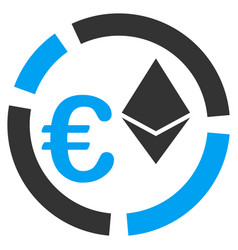 Euro ethereum diagram flat icon vector
