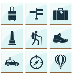 exploration icons set with pickup bag landmark vector image