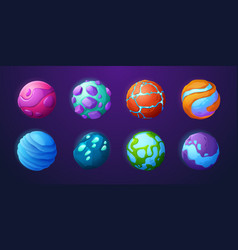 Fantasy planets in outer space for ui galaxy game vector