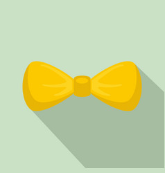fashion yellow bow tie icon flat style vector image