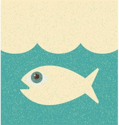 Fish retro poster vector