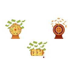 flat casino symbols icon set vector image
