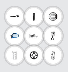 Flat icon component set of cambelt auto component vector