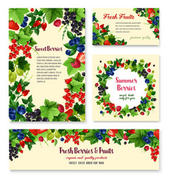 Fresh berries and fruits posters templates vector