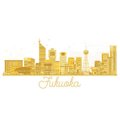 Fukuoka japan city skyline golden silhouette vector