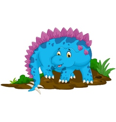 funny stegosaurus cartoon for you design vector image