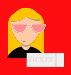 Girl promo with ticket booklets vector