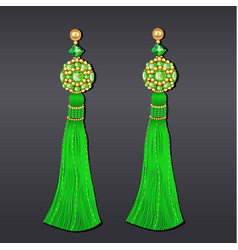 Green and gold beaded earrings with tassels vector